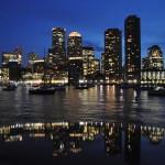Boston Financial Center at night