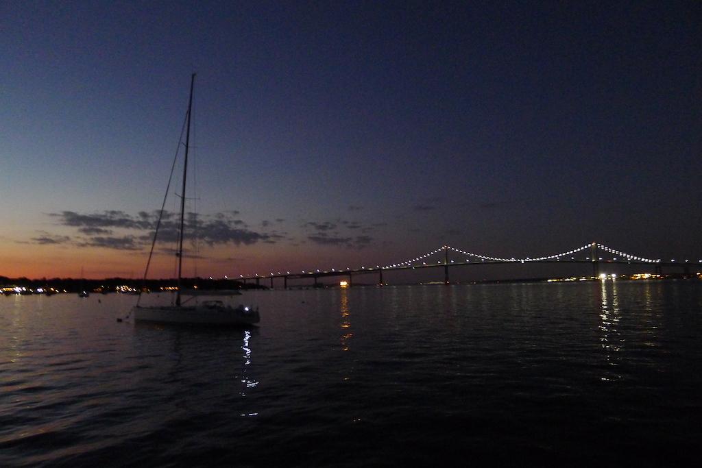 New England July 2016 Newport Bridge by night