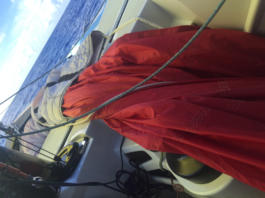 Red spinnaker down