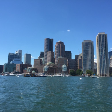 Boston skyline - blue sky