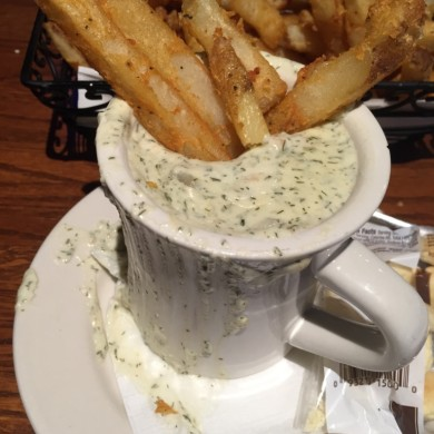 New England Clam Chowder with Fries (typical bar food)