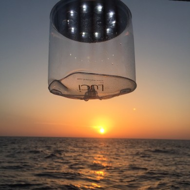 Our waterproof solar light is catching the sunset
