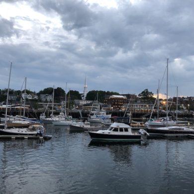 Camden inner Harbor at dusk