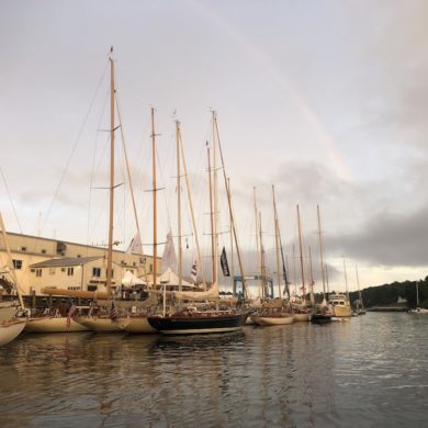 Rainbow and beautiful classic yachts