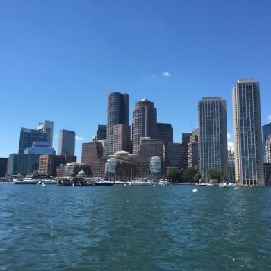Boston skyline - blue sky